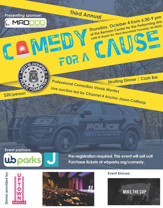 Flyer for Comedy for a Cause in West Bloomfield