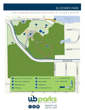 Park map of Bloomer Park in West Bloomfield