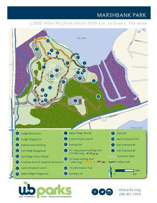 Park map of Marshbank Park in West Bloomfield