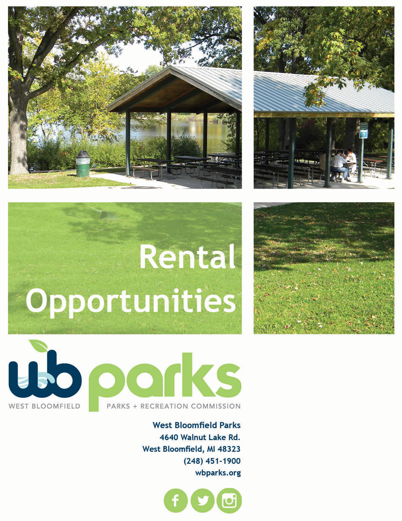 West Bloomfield Parks facility rental opportunities brochure